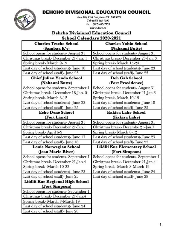 Dehcho Divisional Education Council 2020-2021 Calendar